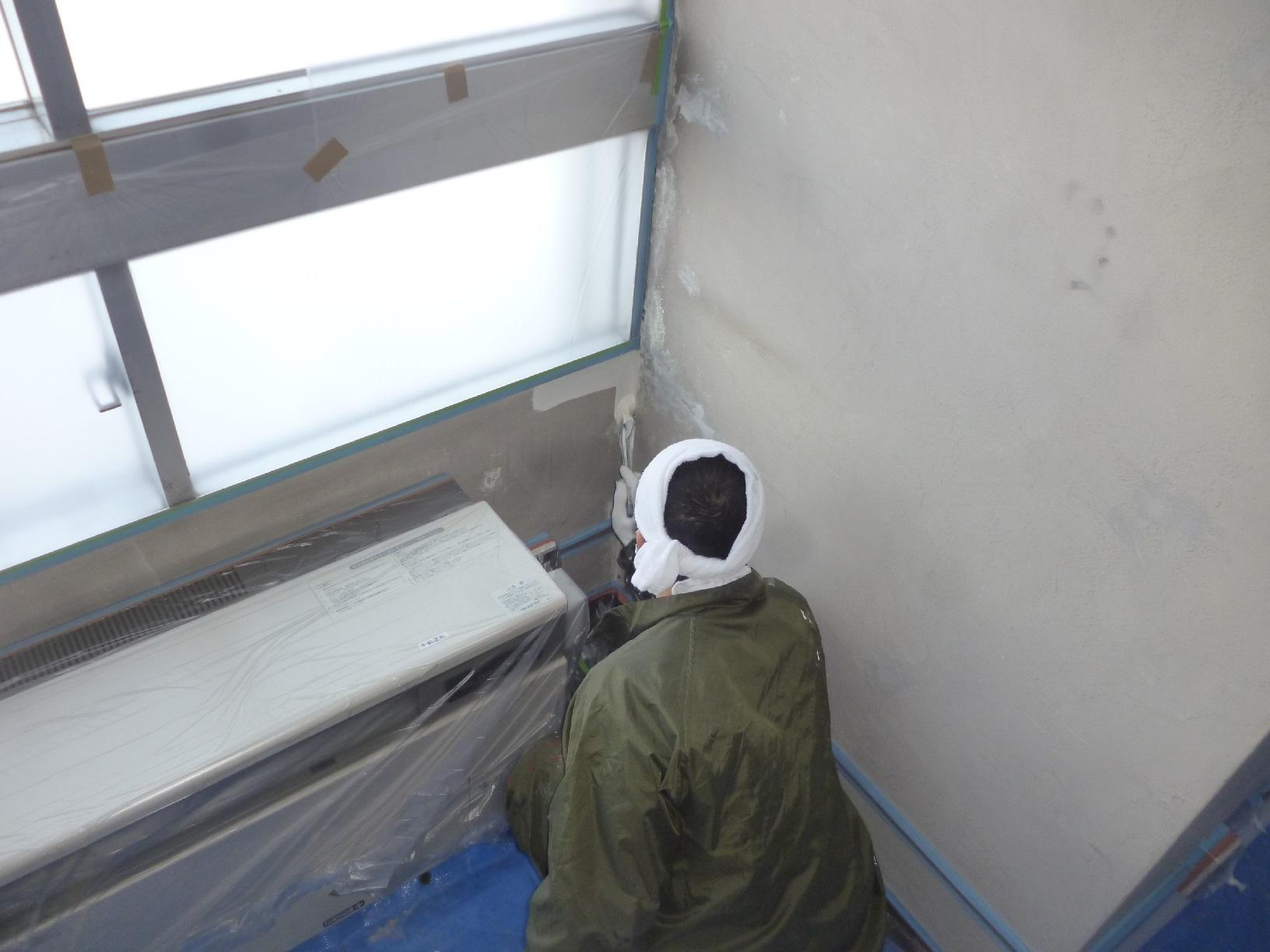 丸中青果 会議室  壁 上塗13