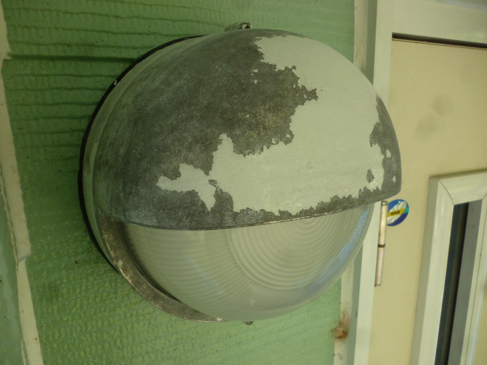 幌呂Y様邸 玄関外灯 下処理2
